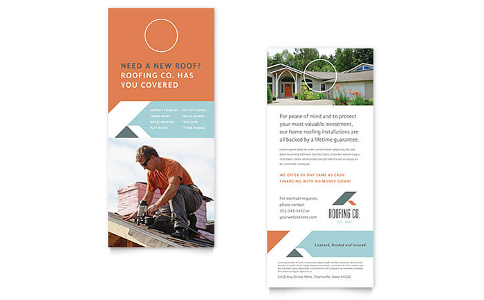 Roofing Company Rack Card Template - Word  Publisher