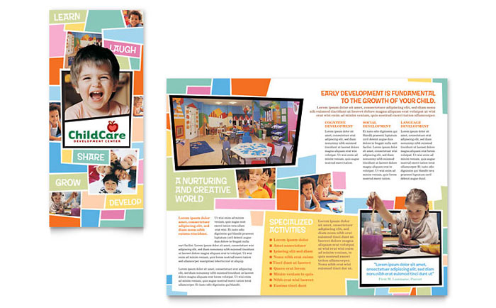 Preschool Kids  Day Care Brochure Template - Word  Publisher - Daycare Flyer Template