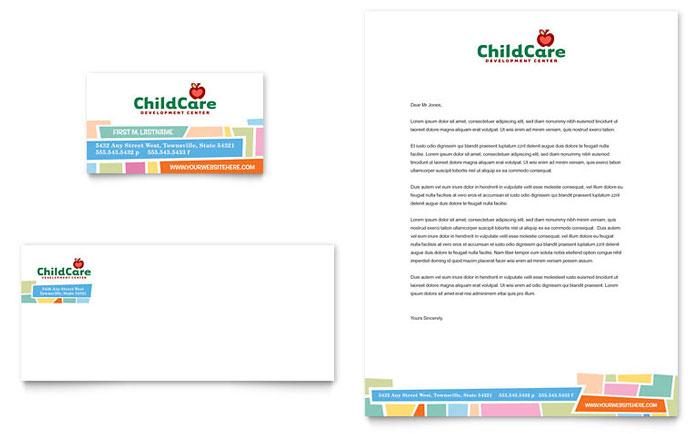 Preschool Kids  Day Care Business Card  Letterhead Template - Word