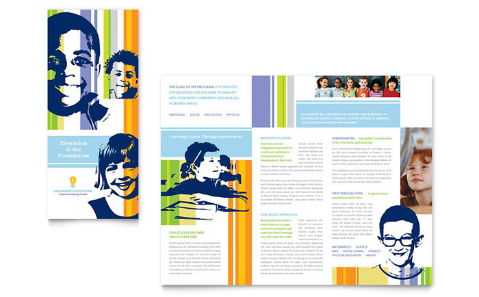 Learning Center  Elementary School Brochure Template - Word  Publisher
