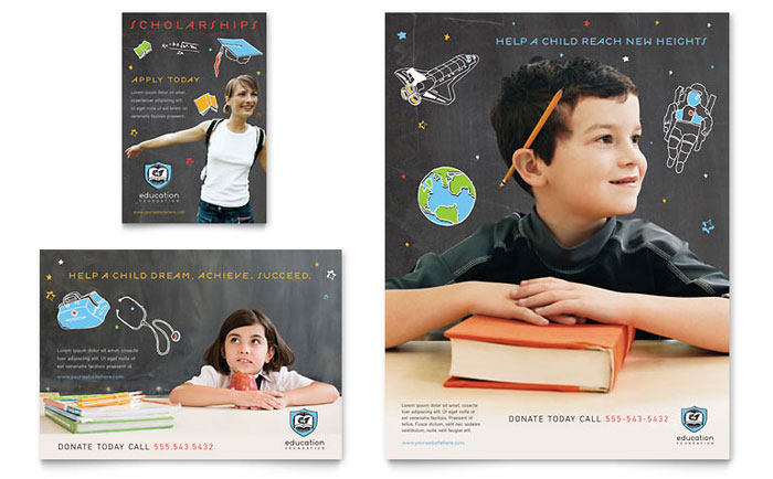 Education Foundation  School Flyer  Ad Template - Word  Publisher