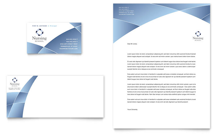 Nursing School Hospital Business Card  Letterhead Template - Word