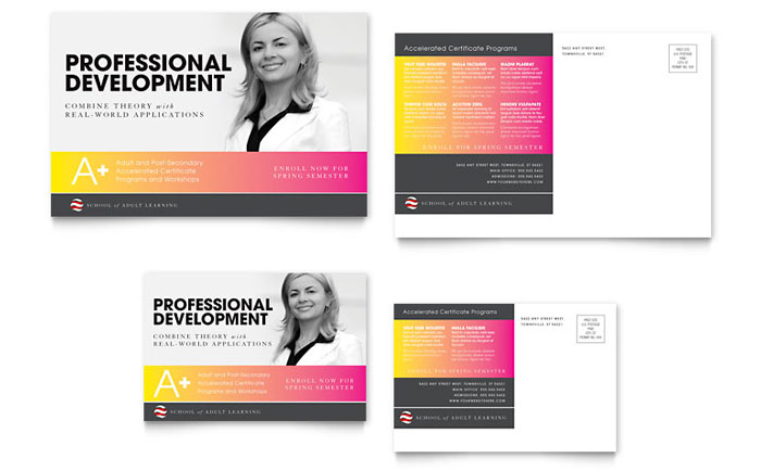 Adult Education  Business School Postcard Template - Word  Publisher