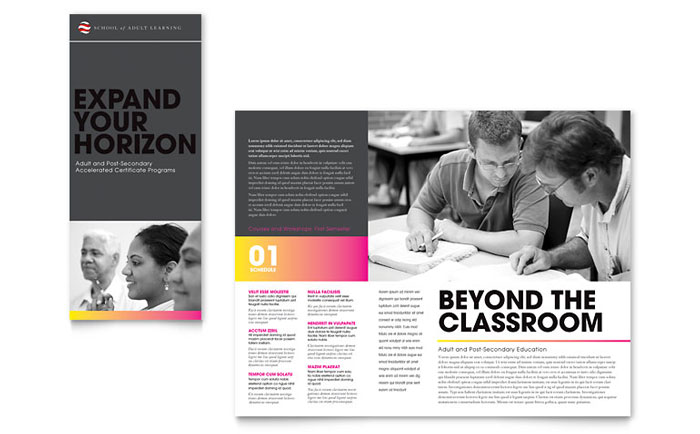 Adult Education  Business School Tri Fold Brochure Template - Word