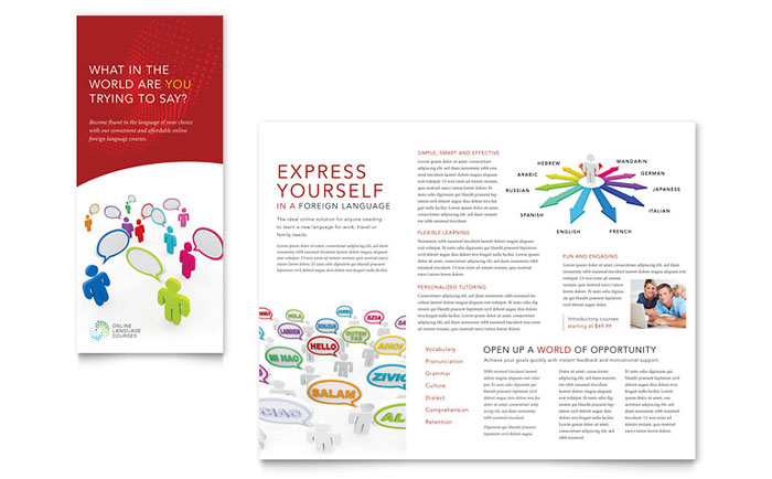 Language Learning Tri Fold Brochure Template - Word  Publisher
