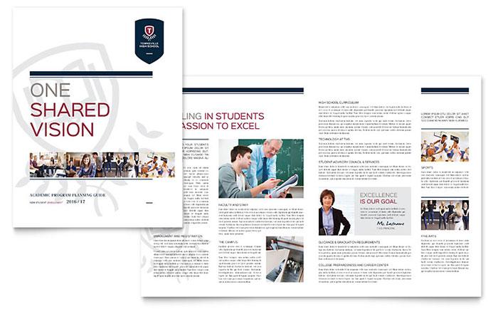 High School Brochure Template - Word  Publisher