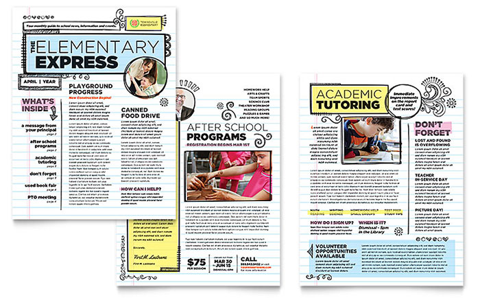 Elementary School Newsletter Template - Word  Publisher