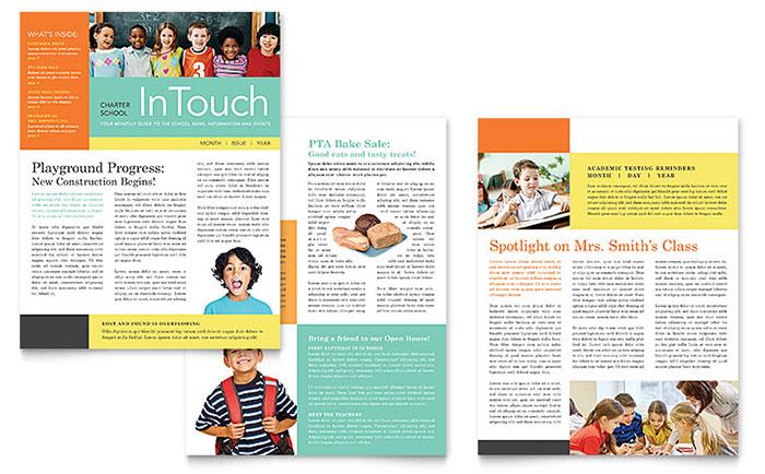 Charter School Newsletter Template - Word  Publisher
