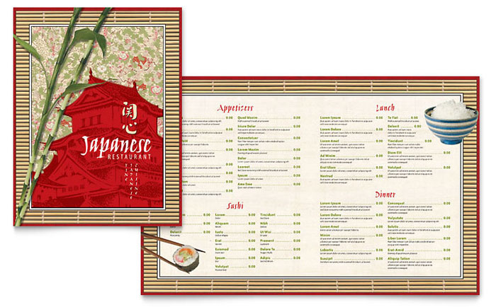 Japanese Restaurant Menu Template - Word  Publisher - menu templates free microsoft