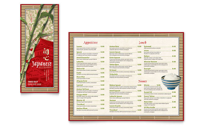 Japanese Restaurant Take-out Brochure Template - Word  Publisher