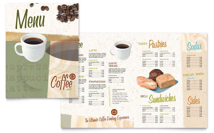 Coffee Shop Menu Template - Word  Publisher