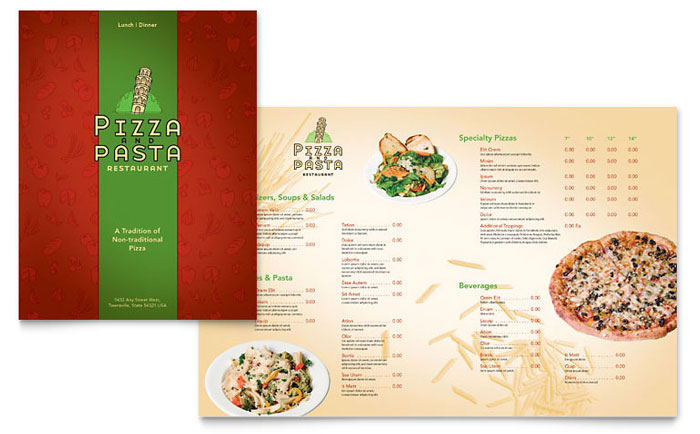 Italian Pasta Restaurant Menu Template - Word  Publisher - menu templates free microsoft