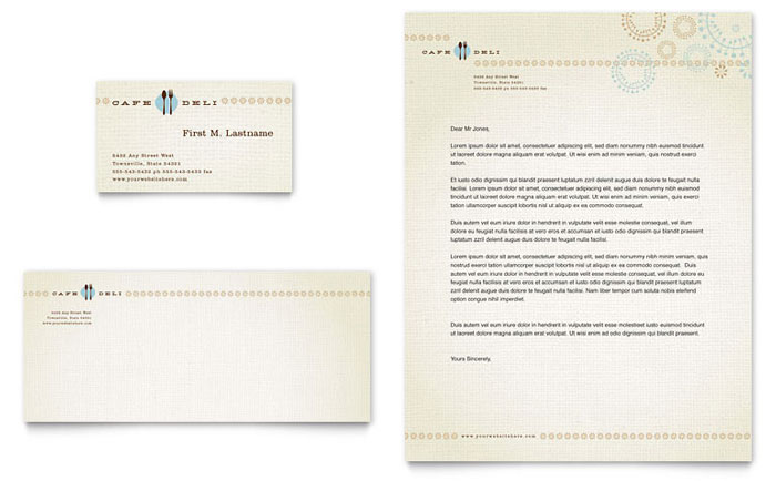 Cafe Deli Business Card  Letterhead Template - Word  Publisher