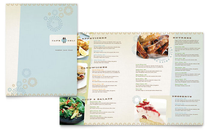 Cafe Deli Menu Template - Word  Publisher