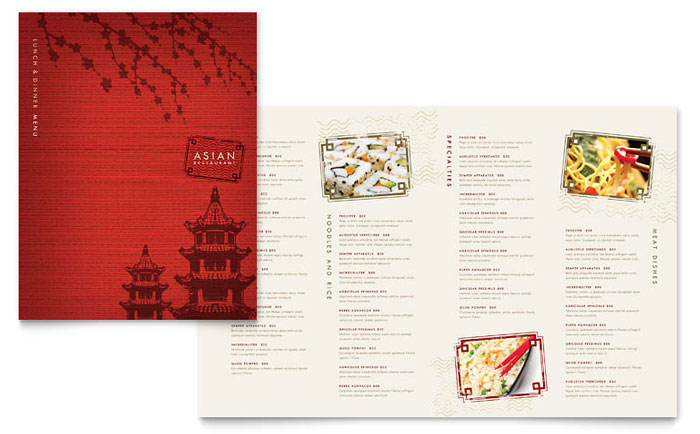 Asian Restaurant Menu Template - Word  Publisher