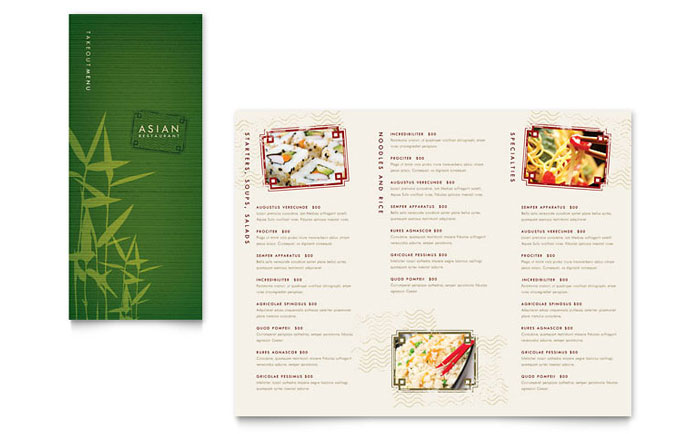 Asian Restaurant Take-out Brochure Template - Word  Publisher
