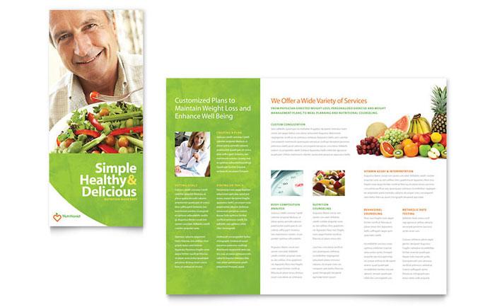 Nutritionist  Dietitian Tri Fold Brochure Template - Word  Publisher