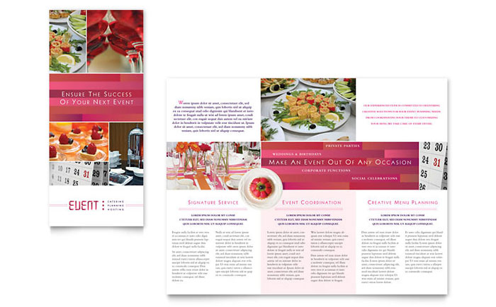 Corporate Event Planner  Caterer Tri Fold Brochure Template - Word