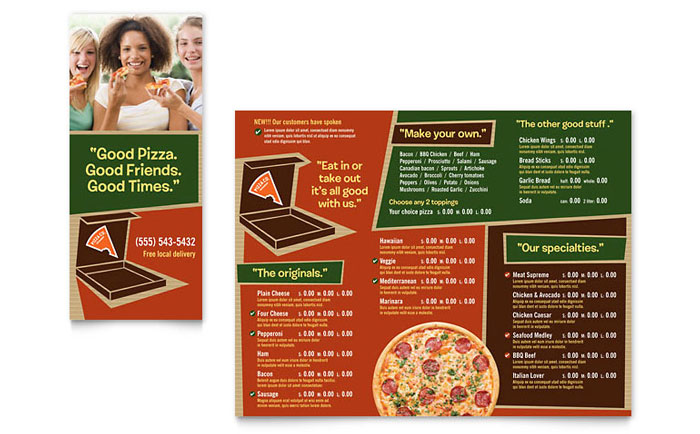 Pizza Pizzeria Restaurant Take-out Brochure Template - Word  Publisher - take out menu template microsoft word