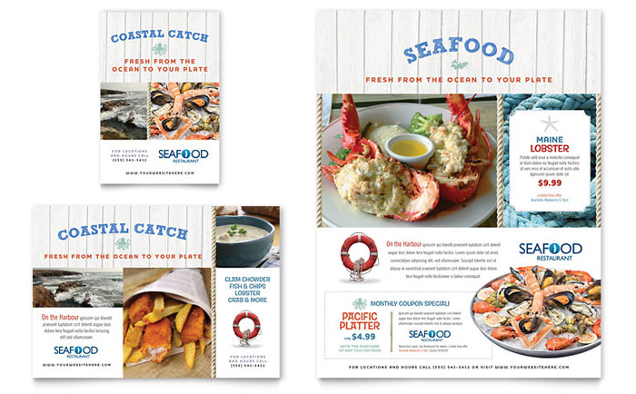 Seafood Restaurant Flyer  Ad Template - Word  Publisher