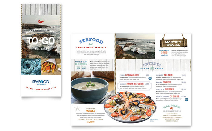 Seafood Restaurant Take-out Brochure Template - Word  Publisher