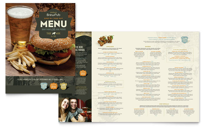 11x17, A3 Menu Templates - Word  Publisher Templates