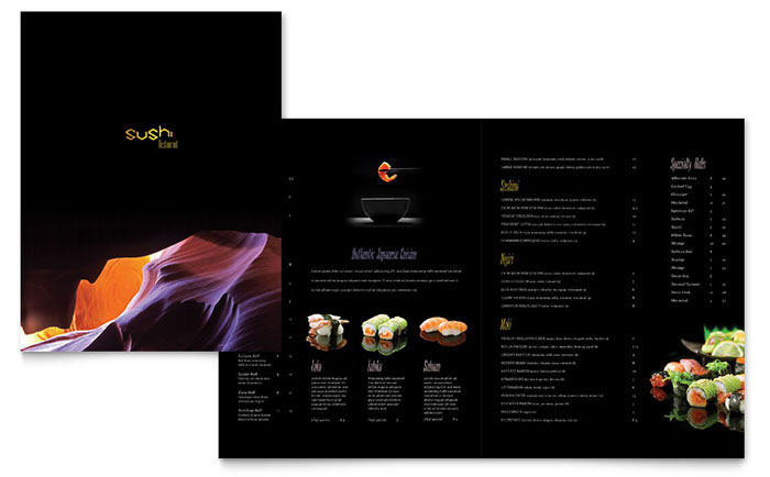 Sushi Restaurant Menu Template - Word  Publisher
