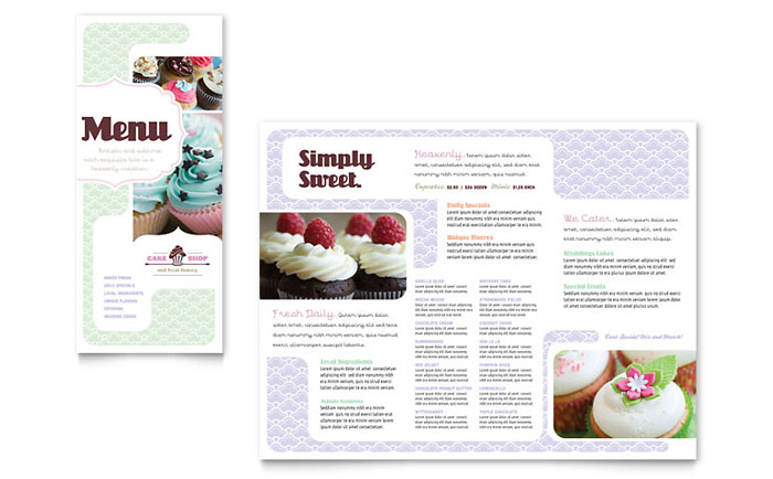 Bakery  Cupcake Shop Menu Template - Word  Publisher