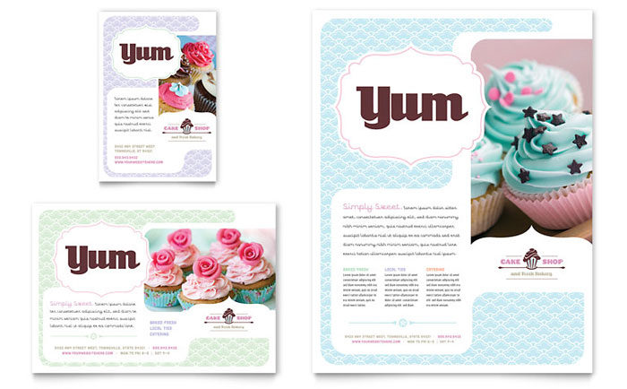 Bakery  Cupcake Shop Flyer  Ad Template - Word  Publisher