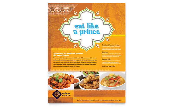 Indian Restaurant Flyer Template - Word  Publisher