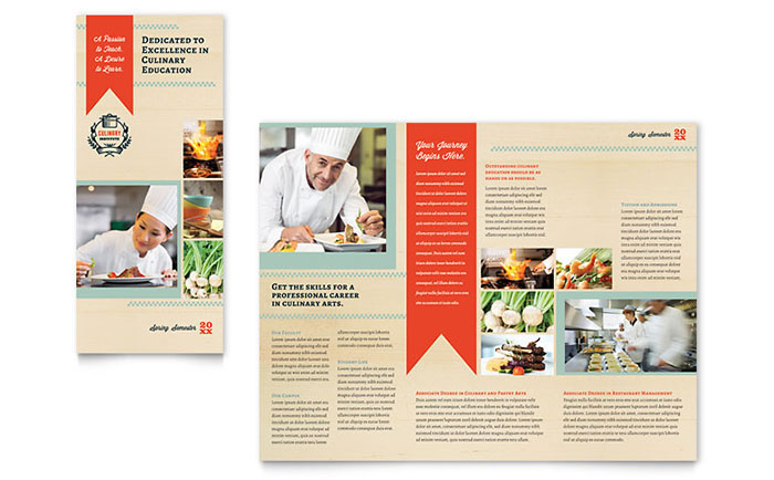 Culinary School Tri Fold Brochure Template - Word  Publisher