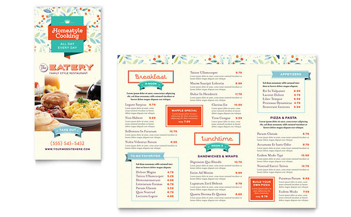 Family Restaurant Take-out Brochure Template - Word  Publisher