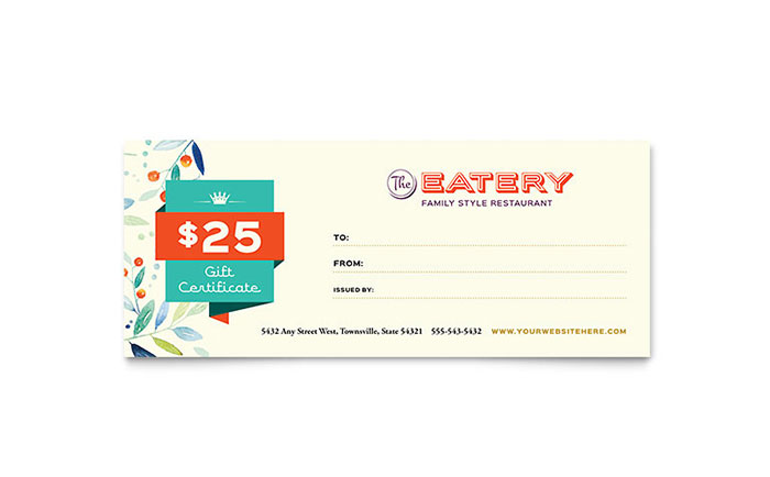 Family Restaurant Gift Certificate Template - Word  Publisher