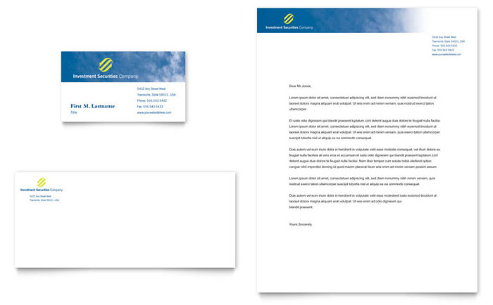 Investment Securities Company Business Card  Letterhead Template