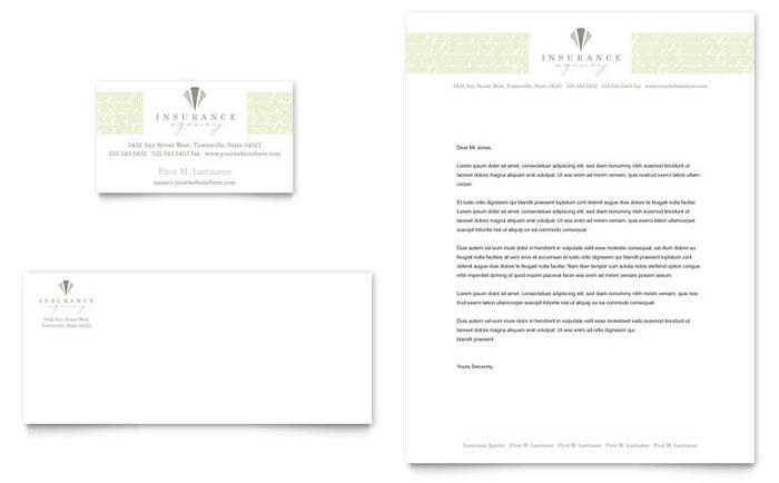 Life  Auto Insurance Company Business Card  Letterhead Template - company letterhead word template