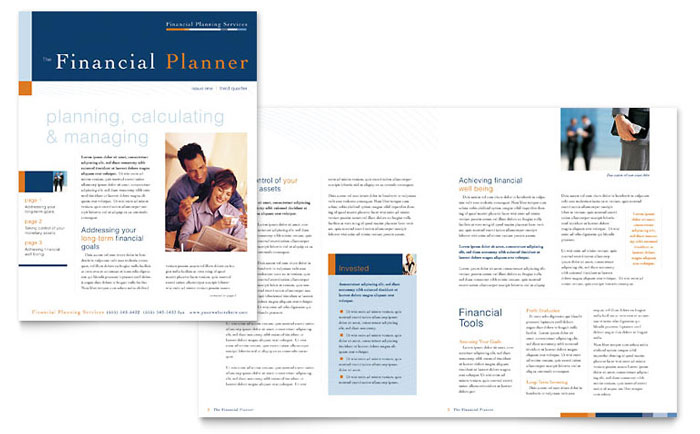 Financial Planning  Consulting Newsletter Template - Word  Publisher - sample business newsletter