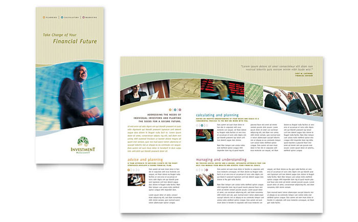 Investment Management Tri Fold Brochure Template - Word  Publisher