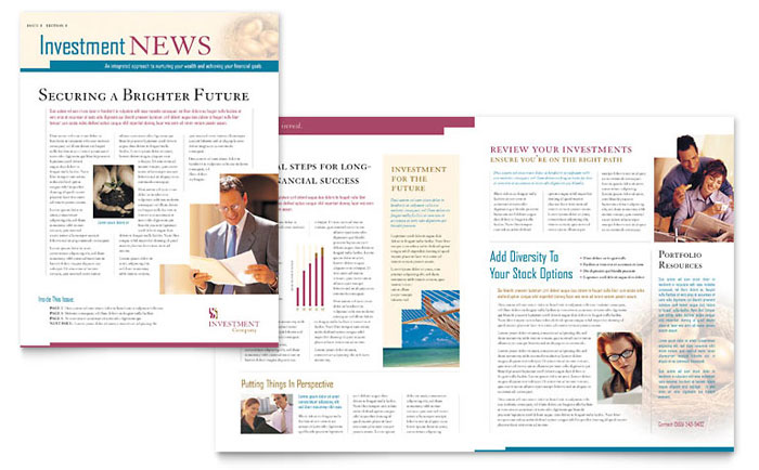 Investment Company Newsletter Template - Word  Publisher