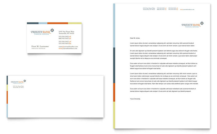 Private Bank Business Card  Letterhead Template - Word  Publisher - free personal letterhead templates word