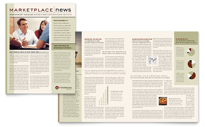 Financial Planner Newsletter Template - Word  Publisher