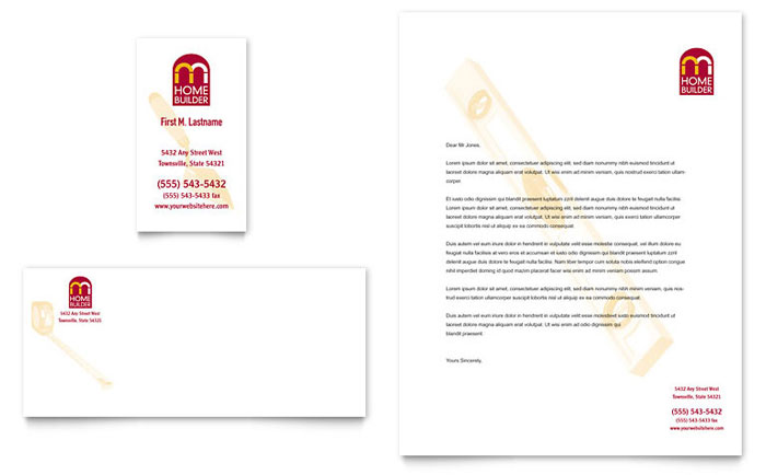 Letterhead Templates Indesign Illustrator Publisher Word Home Builder And Contractor Business Card And Letterhead