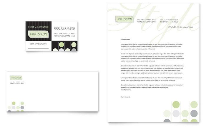 Beauty  Hair Salon Business Card  Letterhead Template - Word - Free Business Letterhead Templates For Word