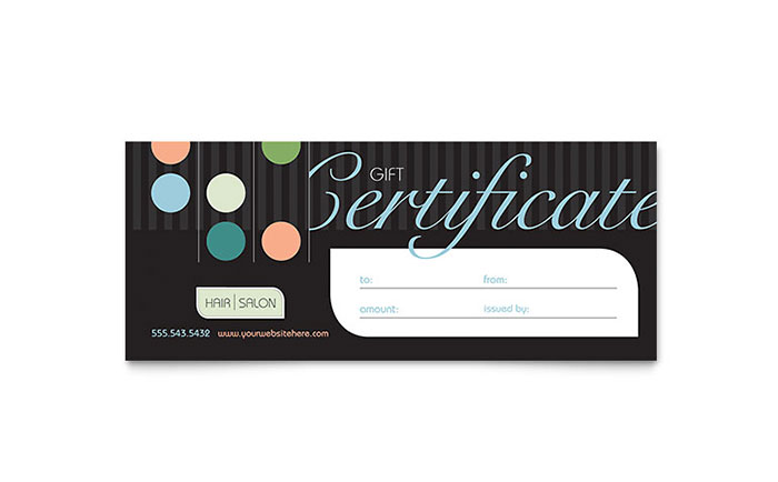Beauty  Hair Salon Gift Certificate Template - Word  Publisher