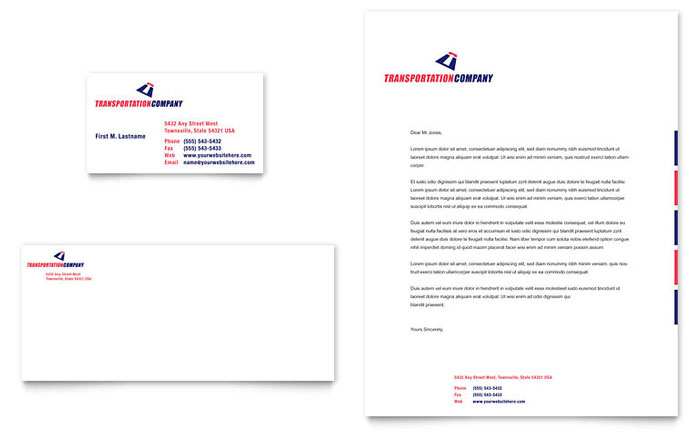 Transportation Company Business Card  Letterhead Template - Word