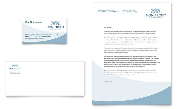 Community Non Profit Business Card  Letterhead Template - Word
