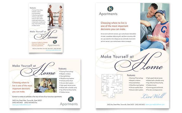Apartment  Condominium Flyer  Ad Template - Word  Publisher