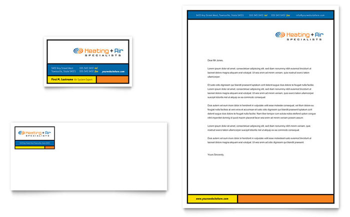 Heating  Air Conditioning Business Card  Letterhead Template