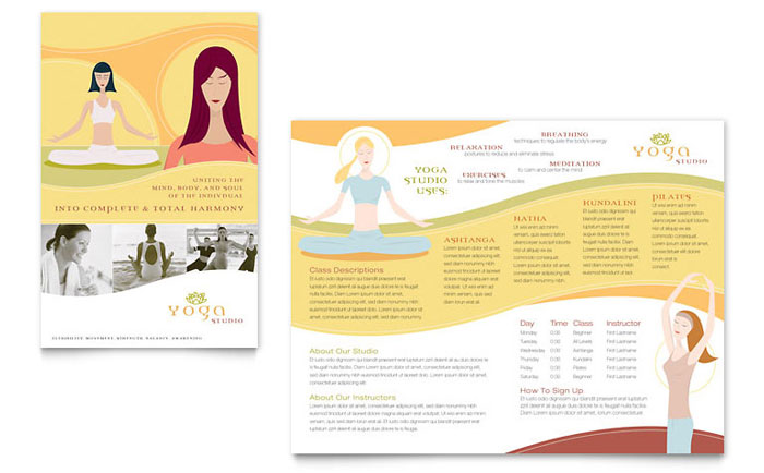 Yoga Instructor  Studio Brochure Template - Word  Publisher