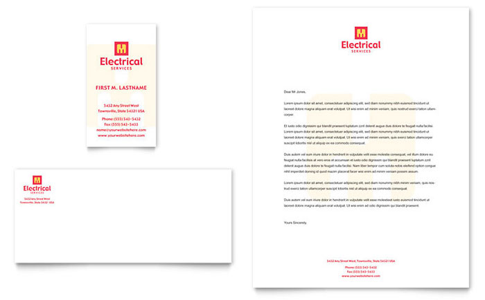 Electrical Services Business Card  Letterhead Template - Word - company profile template microsoft