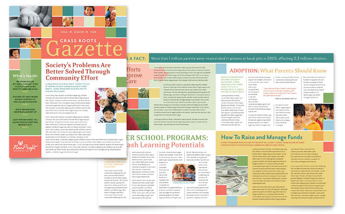 Non Profit Association for Children Newsletter Template - Word - news letter formats